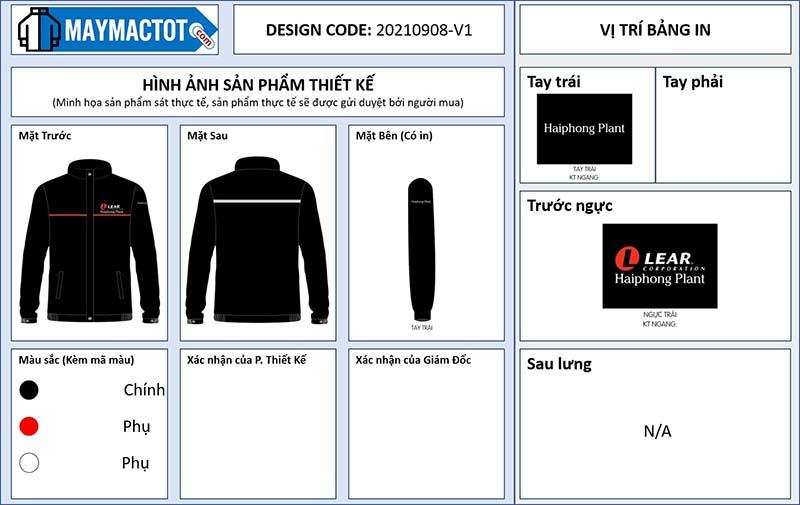 Bản thiết kế áo gió đồng phục